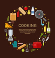 Cooking Icons in the Shape of Circle in Flat vector image vector image