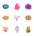 coral icons set cartoon style vector image