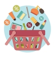 Cosmetic products going down into basket vector image vector image