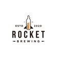 creative rocket brewing logo bottle rocket vector image