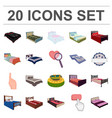 different beds cartoon icons in set collection for vector image
