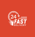 fast delivery 24 hour on red background vector image vector image