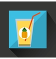 fresh juice pineapple and cup glass straw design vector image vector image