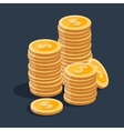 gold stack dollar coins vector image vector image