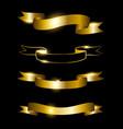 golden ribbons set vector image
