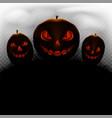 halloween pumpkins fog on background vector image vector image