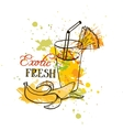 hand drawn tropical juice in glass vector image