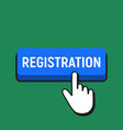 hand mouse cursor clicks the registration button vector image vector image