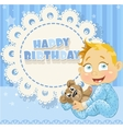 Happy Birthday blue openwork card for your vector image