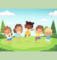 happy kids background funny children playing vector image vector image