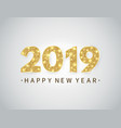 happy new year banner with gold glitter 2019 vector image