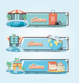 holidays vacations set icons travel vector image