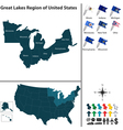 Map of Great Lakes region vector image vector image