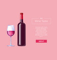 red wine taste poster bottle burgundy merlot glass vector image vector image