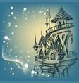 santa castle christmas card vector image