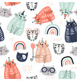 seamless childish pattern with funny colorful cats vector image vector image