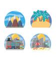 set landscape places to travel destination vector image vector image