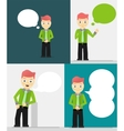 Set of young businessmen with speech bubbles vector image vector image