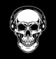 skull in headphones on dark background design vector image vector image
