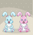 smiling rabbits - best friends boy and girl vector image vector image