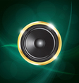 speaker on green neon background vector image vector image