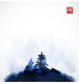 stylized blue ink wash painting with pine trees on vector image vector image