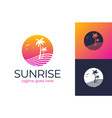 sunset travel logo summer icons on holiday summer vector image