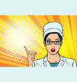 surprised doctor woman presentation gesture vector image vector image