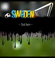 sweden with a soccer ball and gate vector image vector image