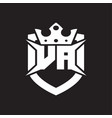 va logo monogram isolated with shield and crown vector image vector image