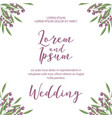 wedding invitation card template with flowers vector image vector image