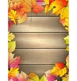 Wooden planks with autumn leaves EPS 10 vector image vector image