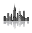 Black building silhouettes isolated on white vector image