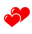 two hearts icon isolated love red smbol vector image