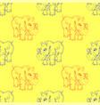 cartoon rhino seamless pattern vector image