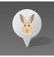 Rabbit pin map icon Animal head vector image