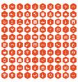 100 wine icons hexagon orange vector image vector image