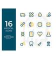 16 medical icons medical symbol modern outline vector image vector image