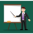 business man with pointer at board vector image