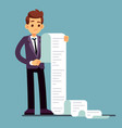 businessman or male lawyer reading long paper list vector image
