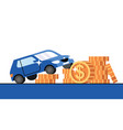 car and golden dollar coins on white background vector image vector image