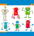 cartoon robots funny characters set vector image vector image