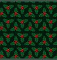 christmas green mistletoe seamless pattern vector image