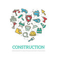 construction colored icons in heart shape vector image