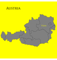 Contour map of Austria on a yellow vector image vector image
