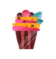 delicious creamy cupcake sweet pastry dessert vector image vector image
