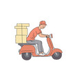 delivery man riding scooter with boxes vector image vector image