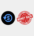 dollar refund icon and distress money back vector image vector image