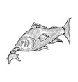 fish swallows another fish sketch engraving vector image vector image