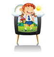 Girl in school uniform on tv screen vector image vector image